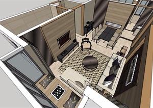 某详细完整的住宅室内空间装饰设计SU(草图大师)模型