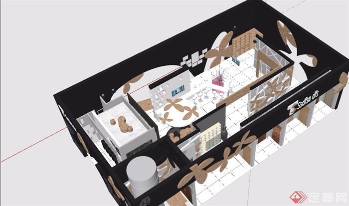 展会展厅详细设计su模型