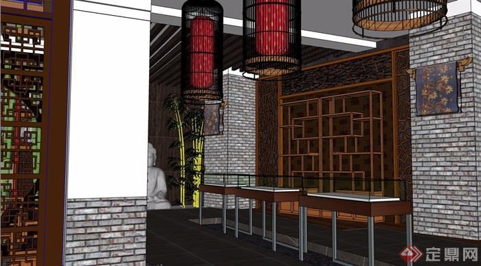 中式风格详细的茶室空间su模型