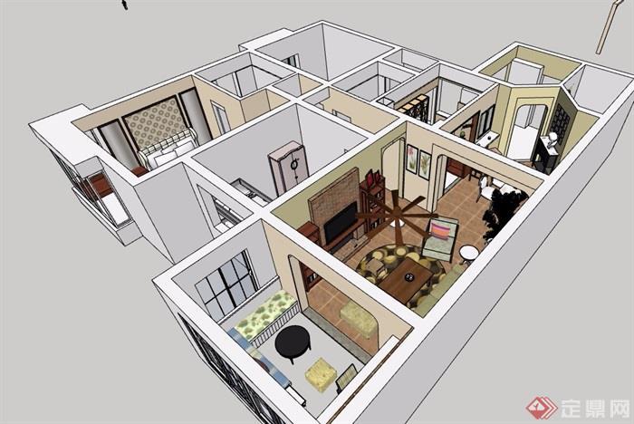 住宅详细室内客餐厅su模型