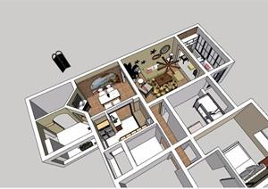 住宅详细室内客餐厅SU(草图大师)模型