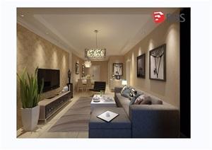 现代详细的住宅室内设计SU(草图大师)模型带效果