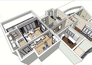 住宅详细室内装饰空间SU(草图大师)模型