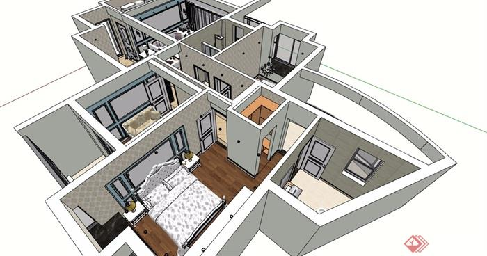 住宅详细室内装饰空间su模型