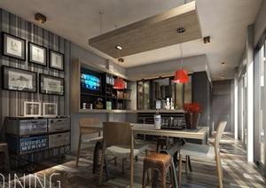 高档餐厅室内设计SU(草图大师)模型