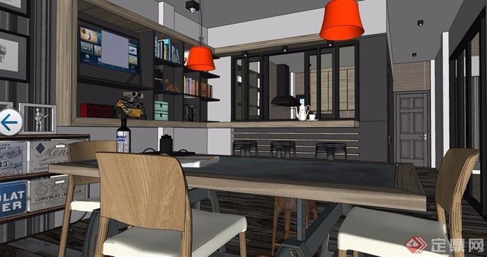 高档餐厅室内设计su模型