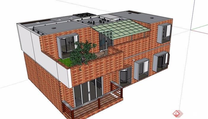 复式两层住宅室内空间su模型