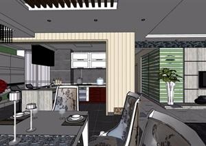 住宅详细的室内空间装饰设计SU(草图大师)模型