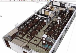 中式详细的完整餐厅设计SU(草图大师)模型