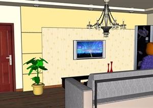 住宅室内客厅空间SU(草图大师)模型