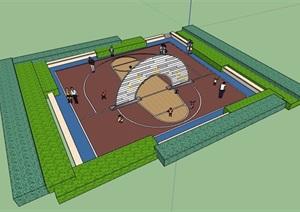 现代风格详细的运动球场设计SU(草图大师)模型