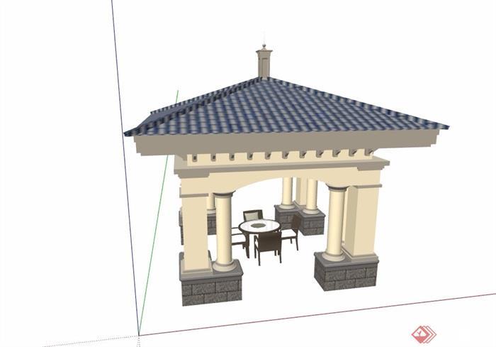欧式风格详细的亭子及桌椅设计su模型