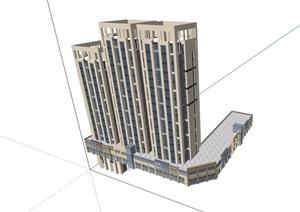 现代风格商业居住小区楼SU(草图大师)模型