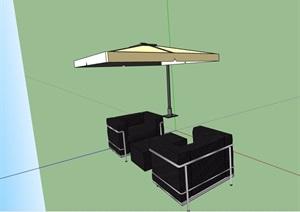 详细的现代伞桌椅素材设计SU(草图大师)模型
