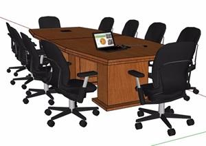 现代风格拼接式木制会议桌椅组合SU(草图大师)模型