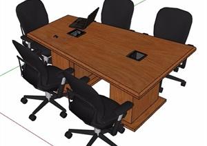 木制梯形会议桌及椅子SU(草图大师)模型