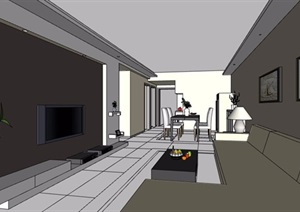 现代简约客餐厅及卧室装修设计SU(草图大师)模型