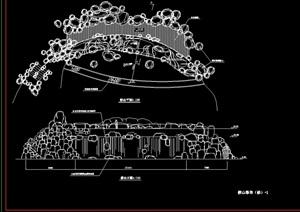 现代假山完整设计cad施工图