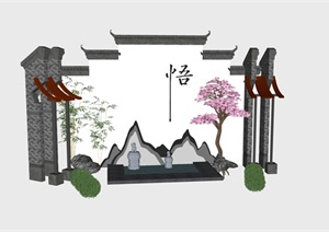 中式马头墙禅意小场景景观造型艺术景墙小品