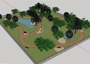 现代简单小游园景观设计SU(草图大师)模型