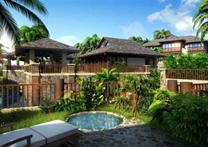 东南亚风格度假别墅村庄会所酒店疗养区建筑设计SU(草图大师)模型