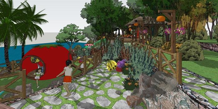 农业度假观光亲子活动儿童游乐设施景观设计su模型sketchup素材库