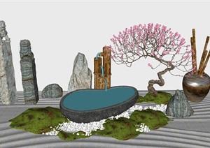 日式枯山水禅意小场景景石小品景观柱竹筒日式小水景