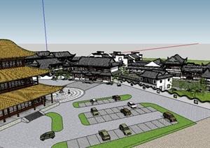 古建筑群,会所SU(草图大师)建筑模型