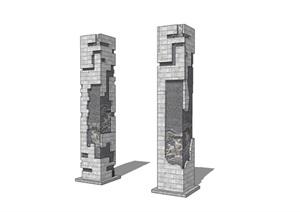 浮雕柱景观柱文化石柱SU(草图大师)模型