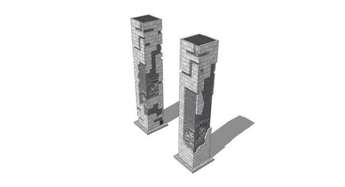 浮雕柱景观石柱(3)