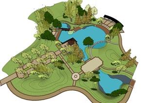 现代风格公园 SU(草图大师)模型