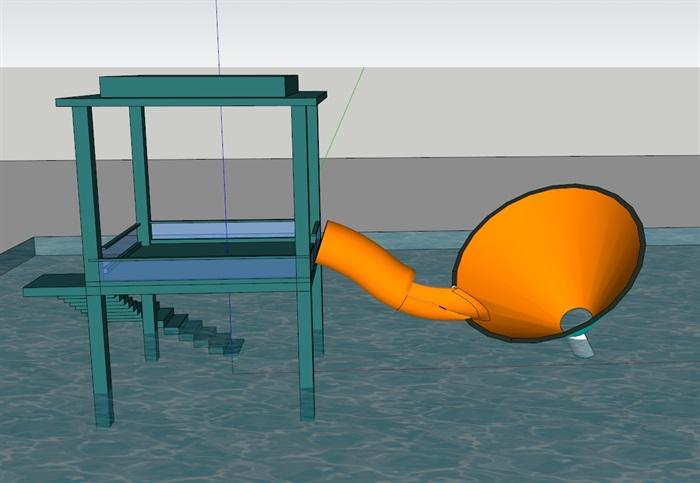 水上大喇叭(SU草图大师)模型(1)