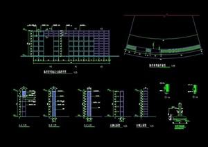 现代弧形景观墙设计cad施工图