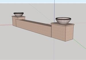 园林景观挡墙坐凳素材设计SU(草图大师)模型
