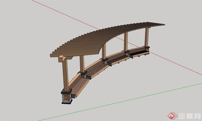 园林景观全木质廊架素材设计su模型