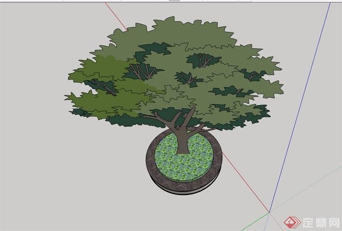 现代圆形详细的树池设计su模型[原创]