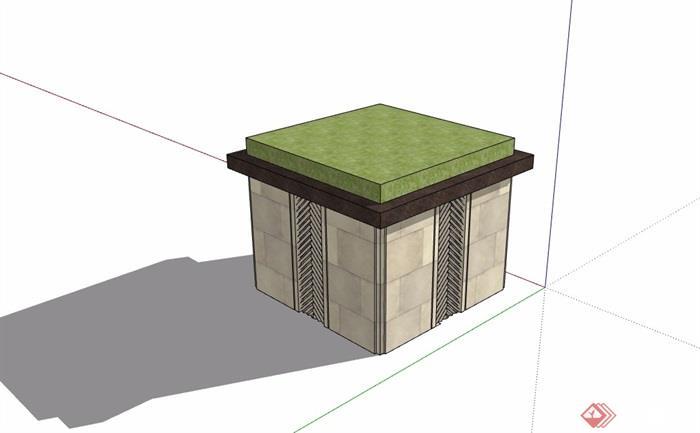现代风格详细的树池素材设计su模型[原创]