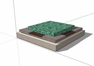 正方形详细树池SU(草图大师)模型
