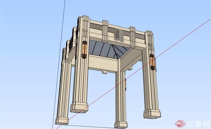 新古典风格详细完整的亭子su模型