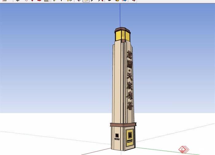 新古典风格标志景观柱设计su模型