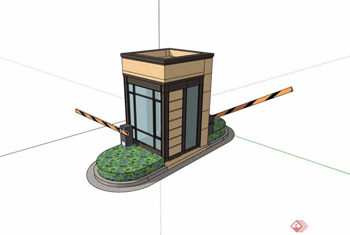 简单的大门素材设计su模型