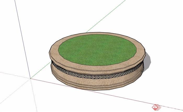 圆形详细完整的树池设计su模型