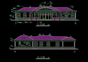 公园食堂餐饮建筑设计cad施工图