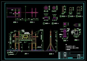 """河边""""码头牌坊""""详细CAD施工图"""
