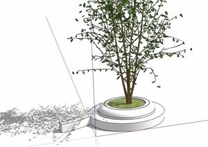 独特圆形树池设计SU(草图大师)模型