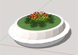 圆形详细的经典树池设计SU(草图大师)模型