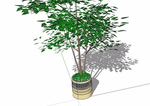 详细的圆形树池设计SU(草图大师)模型