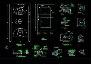 篮球排球运动场地cad施工图
