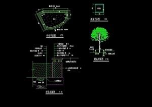 园林景观沙坑树池设计cad施工图