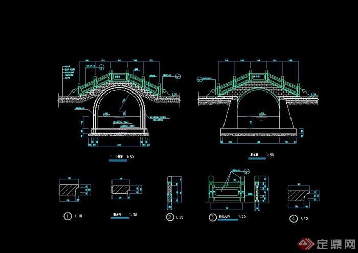 古典中式石拱桥cad施工图cad好多字体问好图片